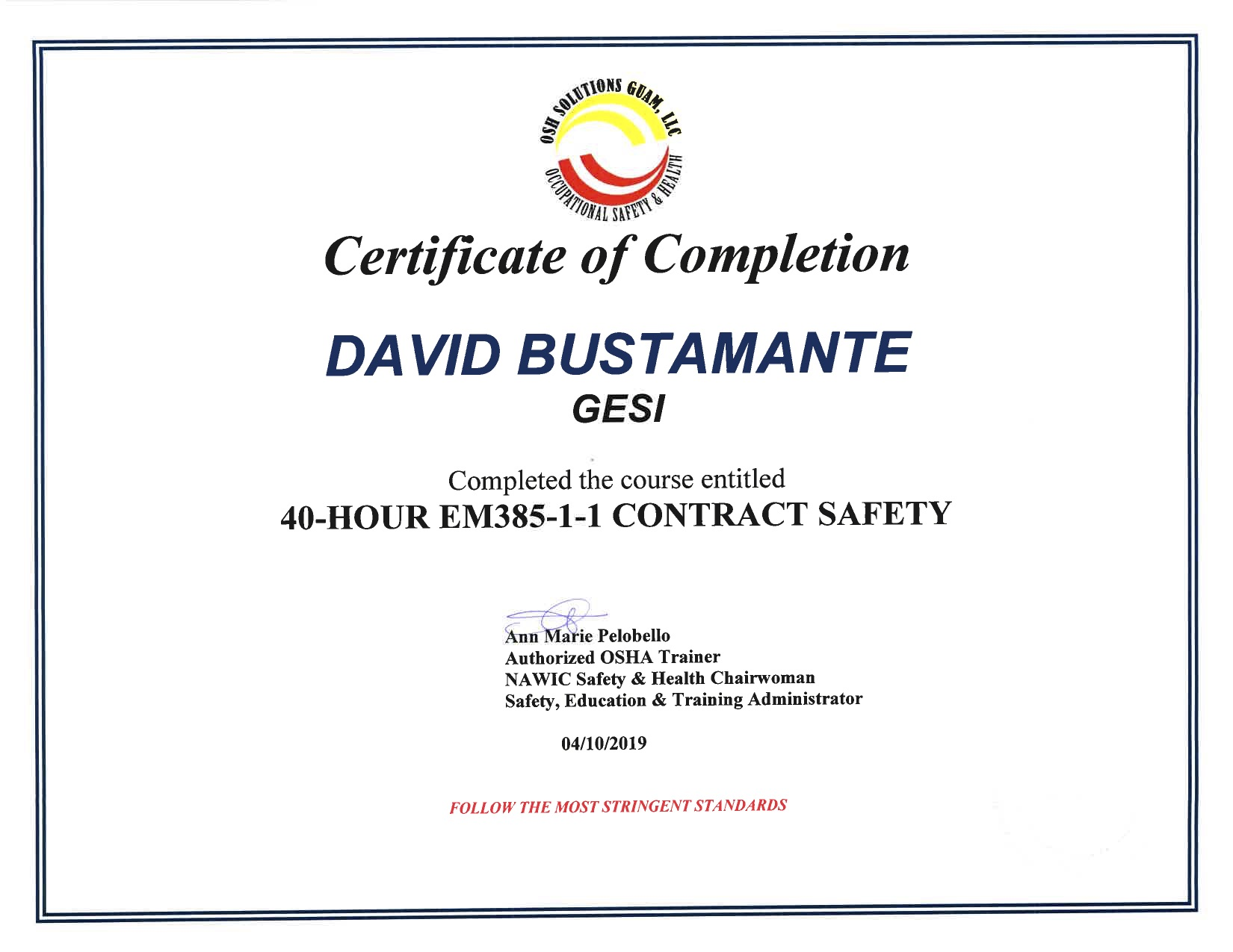 EM385 Certificates-David Bustamante