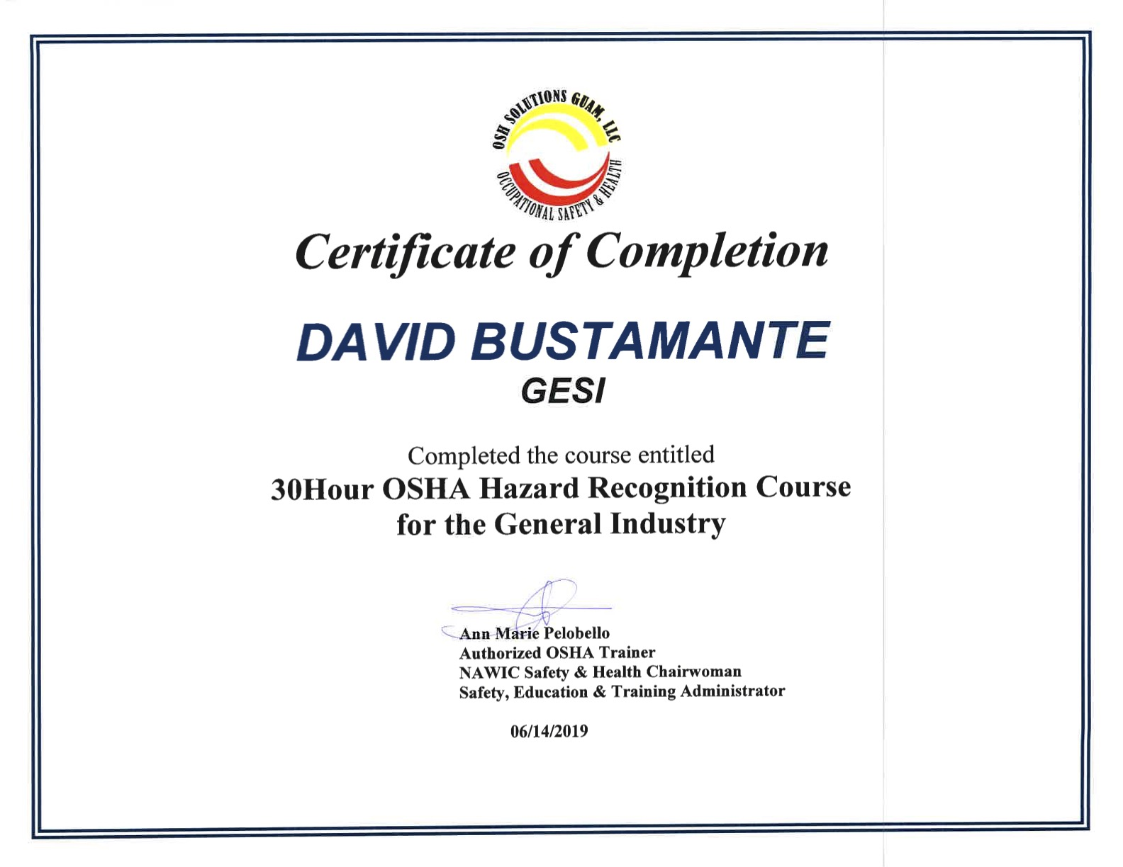 OSHA Certificates-David Bustamante