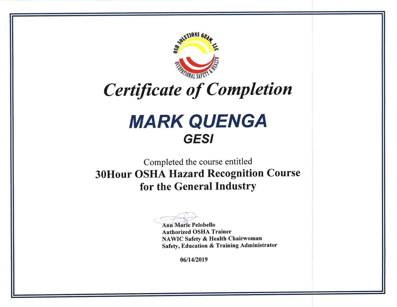 OSHA Certificates Mark Quenga